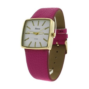 watch 610 08 square metal gold fuchsia