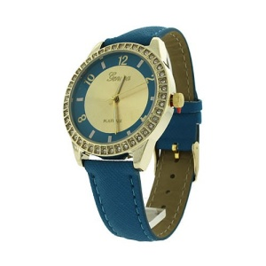 watch 705b 08 round metal crystal gold blue