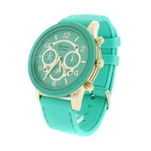 watch 819 08 rubber round mint green gold