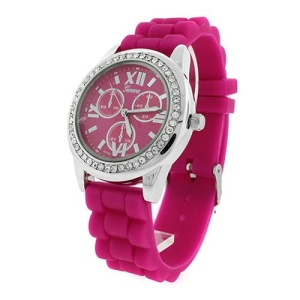 watch 830 08 rubber band crystal face fuchsia silver