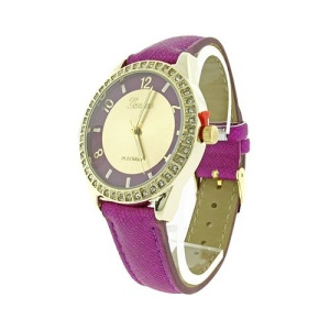 watch 851 08 round crystal gold purple