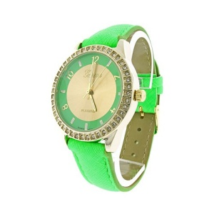 watch 852 08 round crystal gold neon green