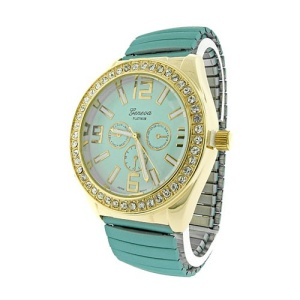watch 858 08 stretch metal crystal gold teal