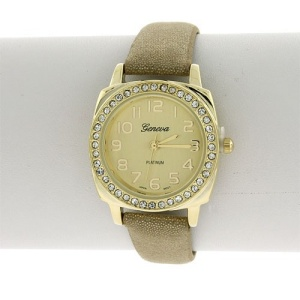 watch 917 08 2354 thin round crystal tan gold
