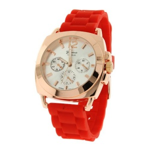watch 922 08 2999 rubber band rose gold red
