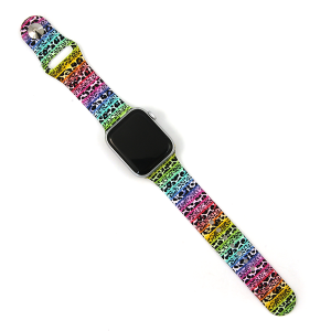 Watch Band 043d 08 Silicon Rubber Leopard Multi 38mm 40mm