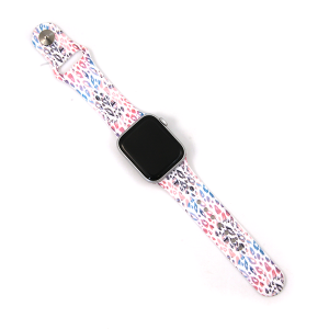 Watch Band 076d 08 Silicon Rubber leopard light multi 38mm 40mm