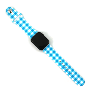 Watch Band 098d 08 Silicon Rubber plaid light blue 38mm 40mm
