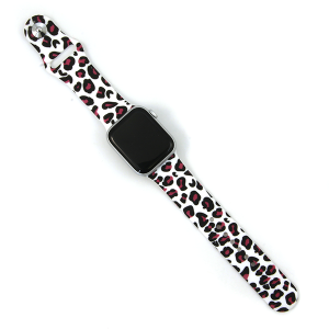 Watch Band 130d 08 Silicon Rubber leopard pink white 38mm 40mm