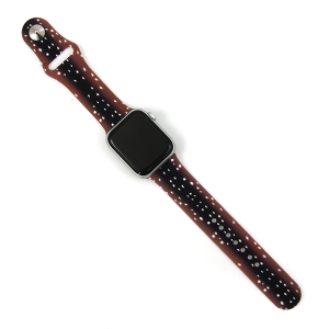 Watch Band 168b 08 Silicon Rubber Deer Print Brown 38mm 40mm