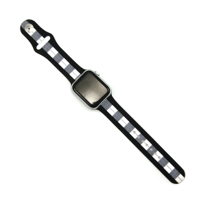 Watch Band 089b 08 stripe buffalo plaid white 38mm 40mm