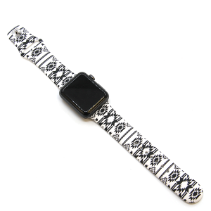 Watch Band 135 08 Rubber Silicone Watch Band black white tribal