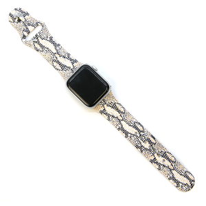 Watch Band 034e 08 Snake Print Watch Band Beige 42mm 44mm