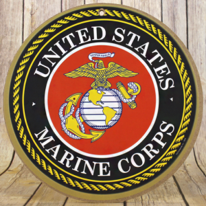 wooden sign round US Marines