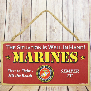 wooden sign short Marines red