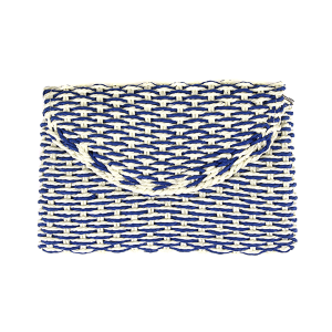 Mika woven straw clutch blue
