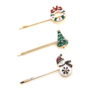 Christmas Hair Clip 248 65 Core Holiday Pins 3pc 04 wreath red green