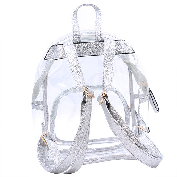 Wholesale Clear See-Through Fashion Backpack in Silver - SWTrading 36c6c4786a4a1